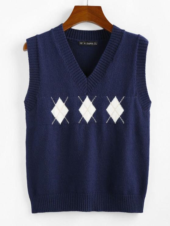 ZAFUL Argyle V Neck Sweater Vest - ازرق غامق L