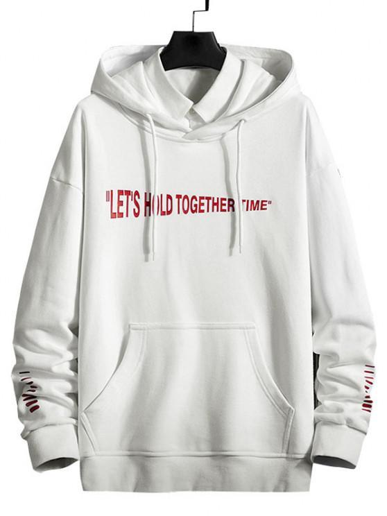 women Slogan Striped Print Kangaroo Pocket Hoodie - WHITE XL