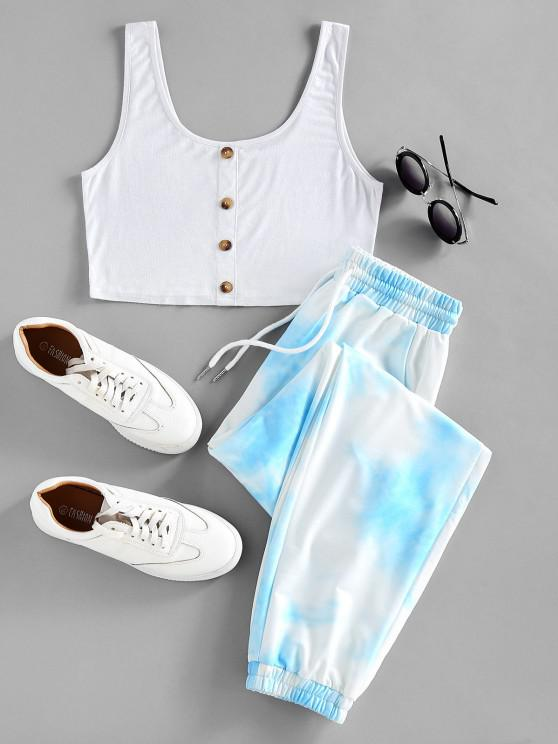 chic ZAFUL Crop Top and Drawstring Jogger Pants Set - LIGHT SKY BLUE XL