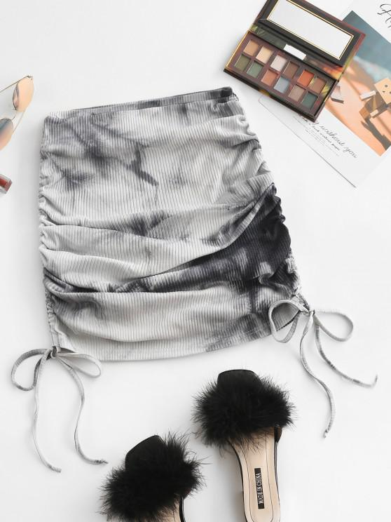 buy ZAFUL Cinched Side Ribbed Tie Dye Skirt - BLACK M