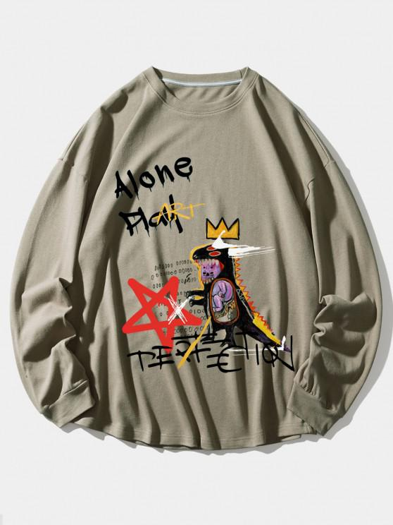 Alone Play Dinosaur Crown Star Graphic Sweatshirt - أسمر L