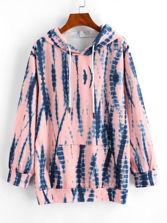 outfit Tie Dye Drawstring Kangaroo Pocket Hoodie - LIGHT PINK S