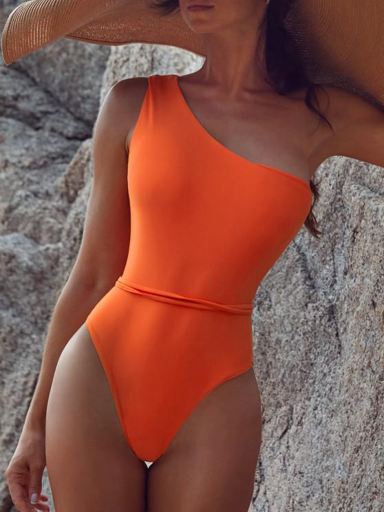 outfits Belted One Shoulder One-piece Swimsuit - ORANGE S