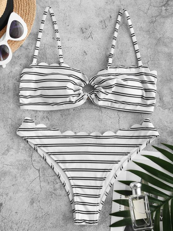 ZAFUL Striped Ribbed Scalloped O Ring Bikini Swimwear - أبيض S