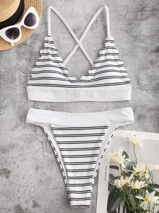 fashion ZAFUL Striped Ribbed Scalloped High Leg Bikini Swimwear - WHITE M