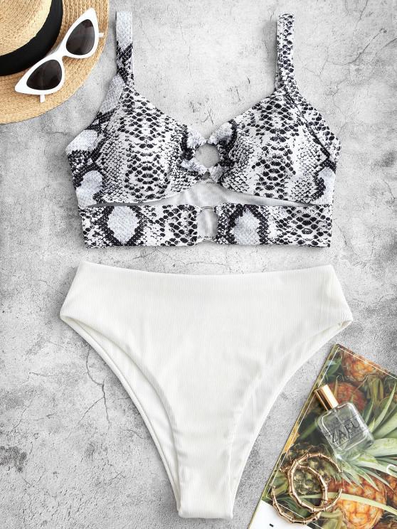 ZAFUL Snake Print O Ring Cutout Tankini Swimwear - أبيض M