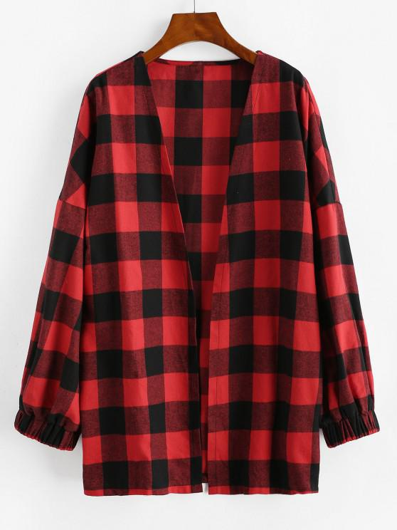 ZAFUL Long Open Front Plaid Coat - الحمم الحمراء M
