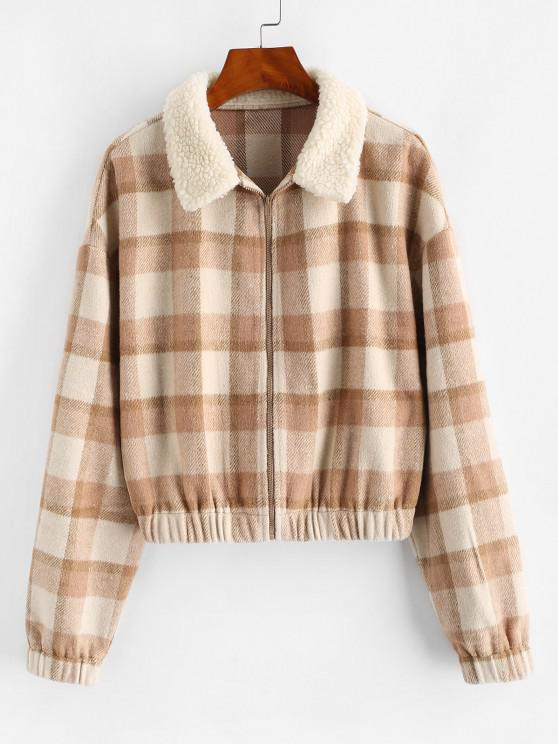 fancy ZAFUL Fur Collar Plaid Wool Blend Coat - BROWN SUGAR S