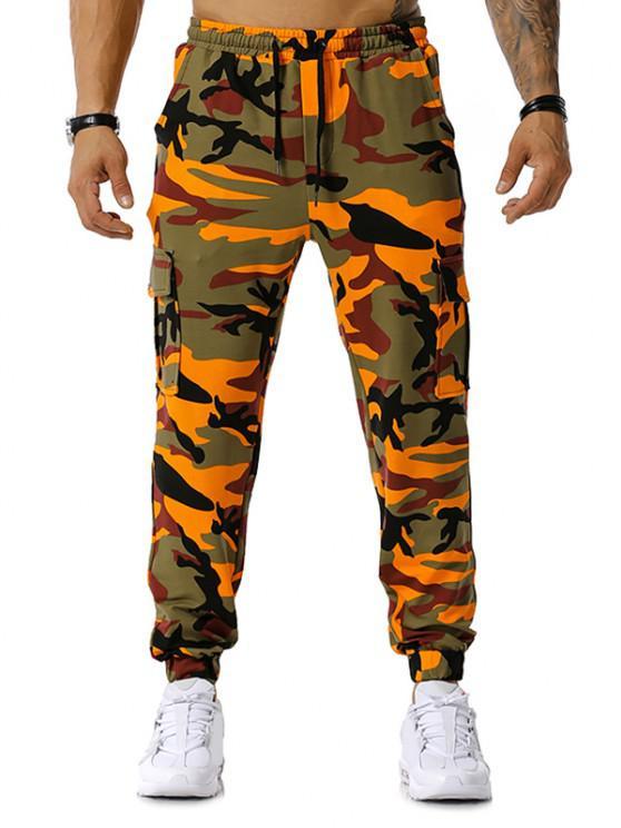 La impresión de Camo con cordón de carga del basculador de pantalones - Naranja 2XL