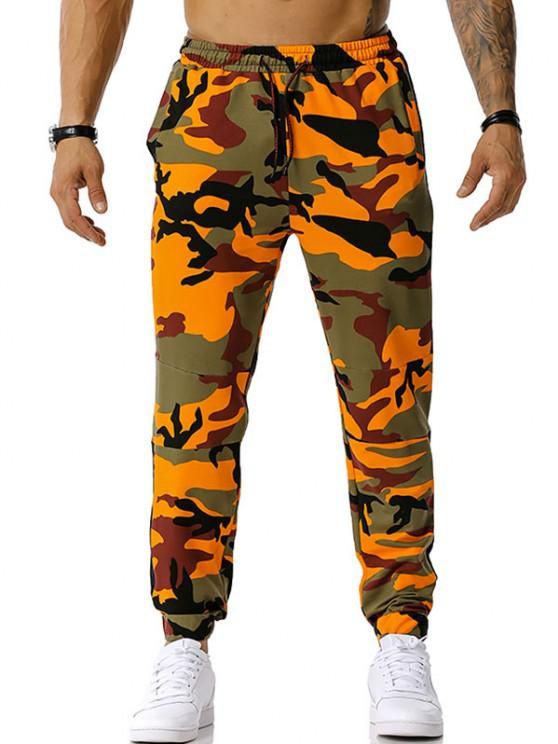 latest Camouflage Print Drawstring Casual Pants - ORANGE M