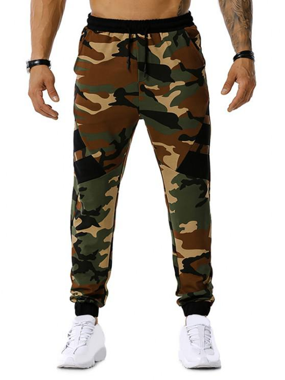 outfits Camouflage Print Drawstring Sports Pants - ARMY GREEN S