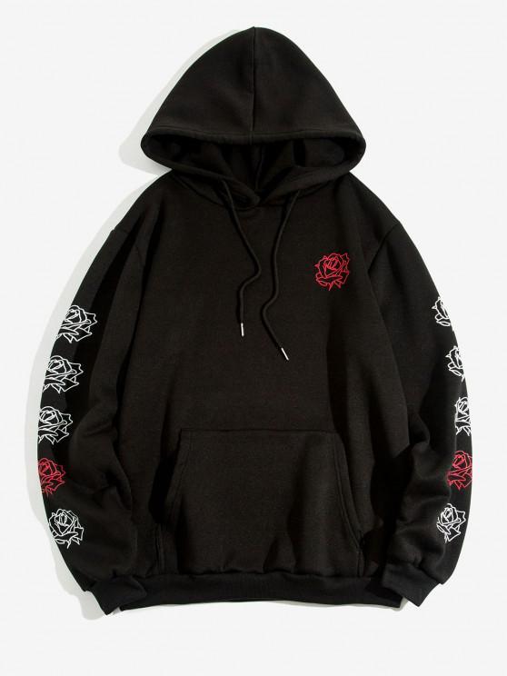 Kangaroo Pocket Rose Flowers Print Fleece Hoodie - أسود S