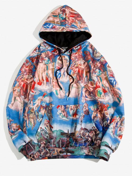 online Kangaroo Pocket Renaissance Art Print Hoodie - COBALT BLUE 2XL