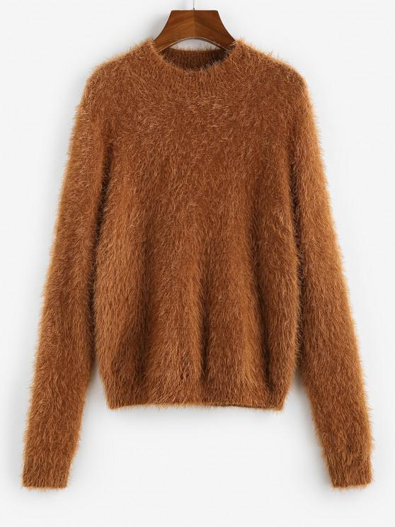 hot ZAFUL Fuzzy Plain Jumper Sweater - COFFEE S