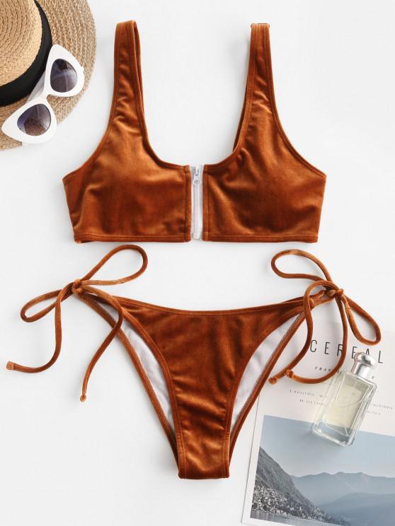 fancy ZAFUL Front Zip Velvet Tie Side Tanga Bikini Swimwear - COFFEE M