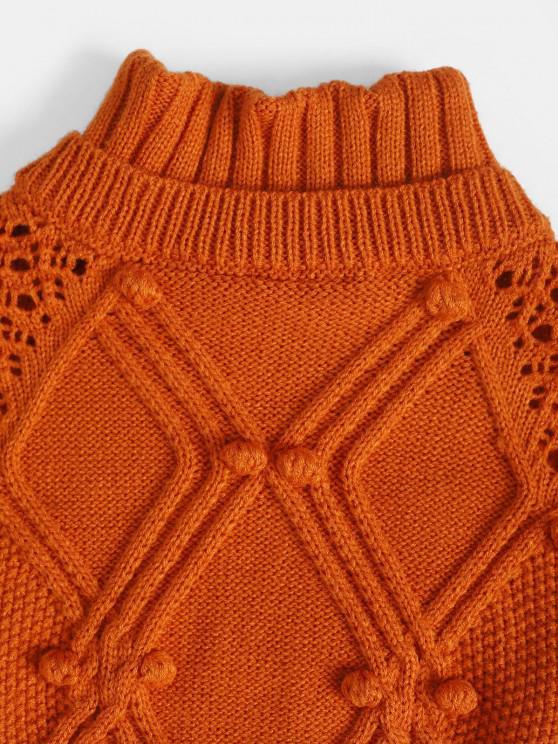 Open Knit Oversized Pompoms Sweater - Dark Orange   ZAFUL