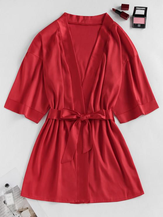women ZAFUL Satin Drop Shoulder Belted Pajama Robe - RED XL