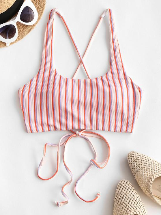 unique ZAFUL Ribbed Striped Lace Up Swim Top - LIGHT PINK M