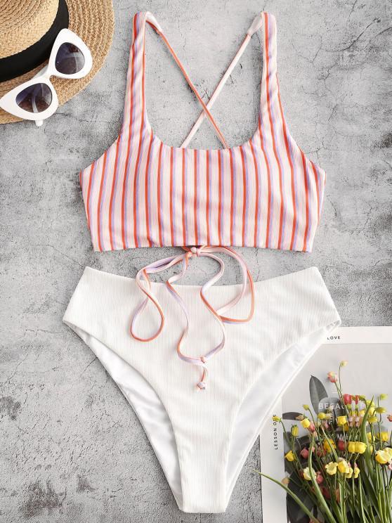 womens ZAFUL Ribbed Striped Lace Up Mix and Match Tankini Swimwear - LIGHT PINK S