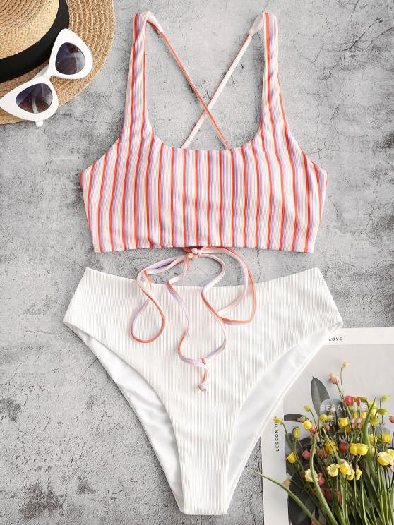 women ZAFUL Ribbed Striped Lace Up Mix and Match Tankini Swimwear - LIGHT PINK M