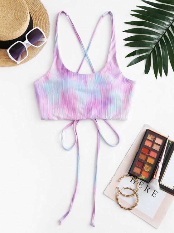 ZAFUL Crisscross Tie Dye Lace Up Bikini Top - ضوء ارجواني L