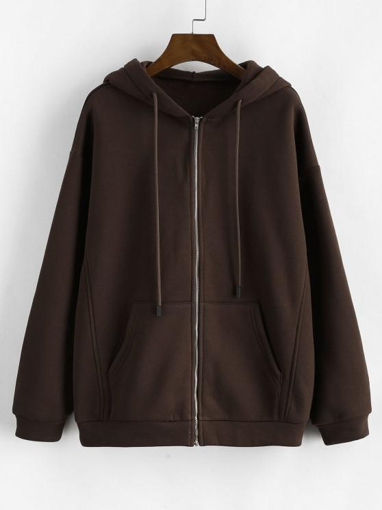 ZAFUL Pockets Zip Up Fleece Lined Hoodie - القهوة العميقة L