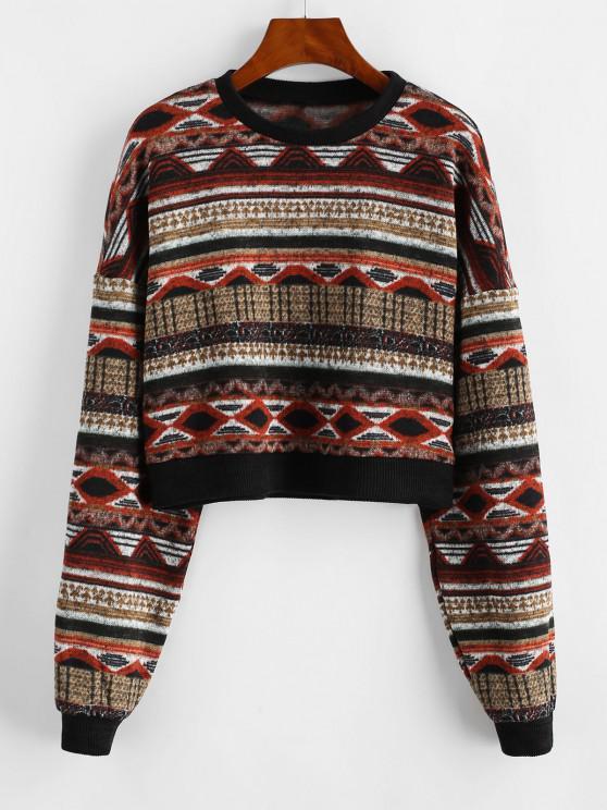 women's ZAFUL Drop Shoulder Crew Neck Tribal Graphic Sweater - MULTI M