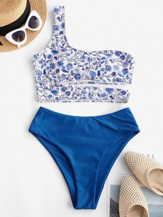 ZAFUL Flower One Shoulder Cutout High Leg Tankini Swimwear - أزرق M