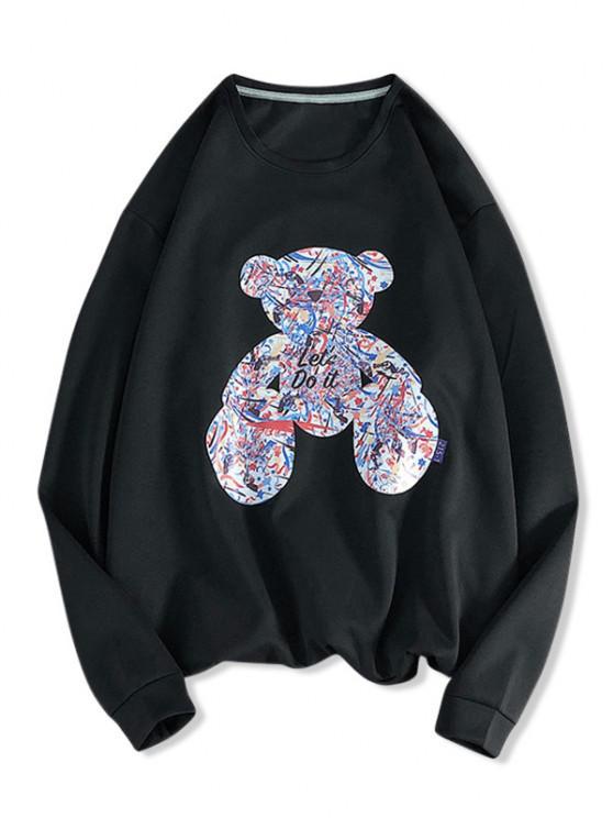 best Let's Do It Graffiti Bear Pattern Sweatshirt - BLACK M
