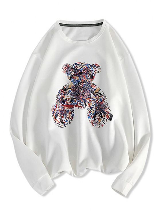 Sweat-shirt à Motif et Lettre - Blanc S