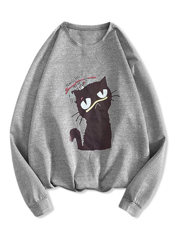 women Letter Cat Print Pullover Sweatshirt - LIGHT GRAY M