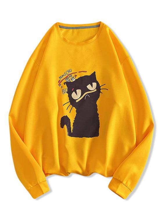 Sweat-shirt Lettre Chat Imprimé - Jaune L