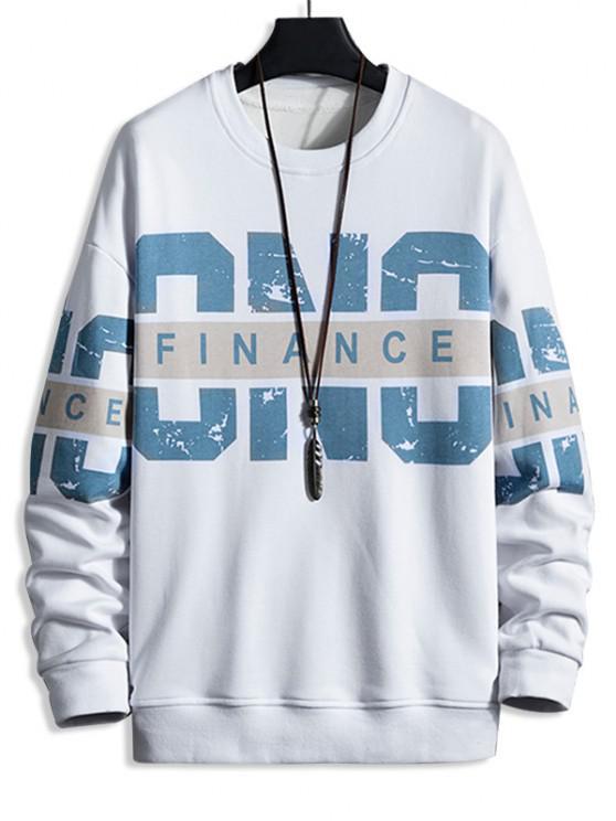 shops Crew Neck Letter Print Pullover Sweatshirt - WHITE L