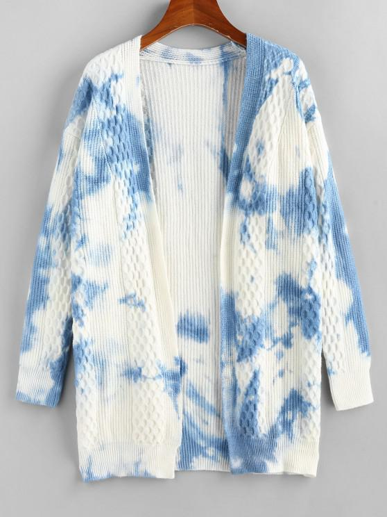 affordable Tie Dye Mixed Knit Drop Shoulder Cardigan - LIGHT BLUE L