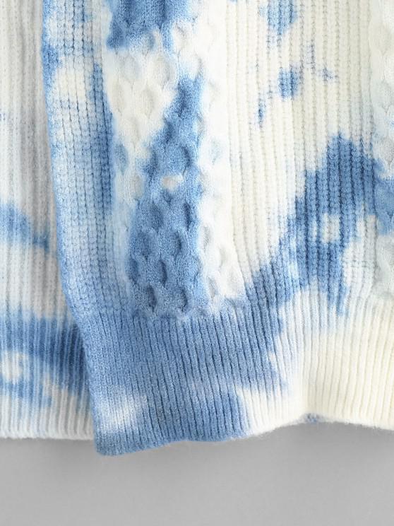 Tie Dye Mixed Knit Drop Shoulder Cardigan - Light Blue L | ZAFUL