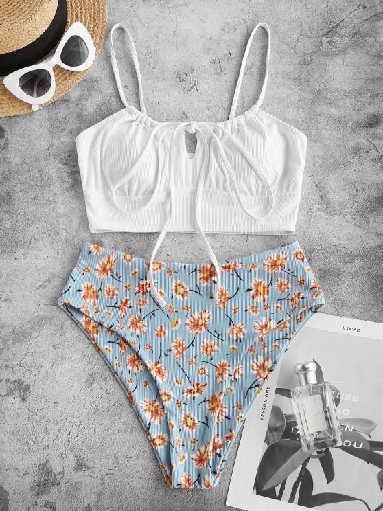 ladies ZAFUL Ribbed Flower Print Drawstring Keyhole Tankini Swimwear - WHITE M