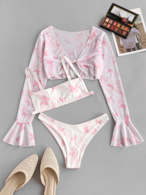 outfits ZAFUL Ribbed Butterfly Print Flare Sleeve Three Piece Bikini Swimwear - LIGHT PINK S