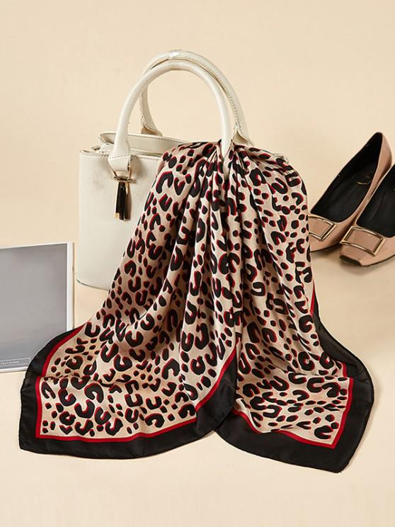 latest Leopard Printed Satin Square Scarf - DEEP RED