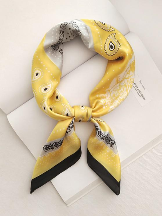 womens Paisley Dots Printed Satin Square Scarf - YELLOW