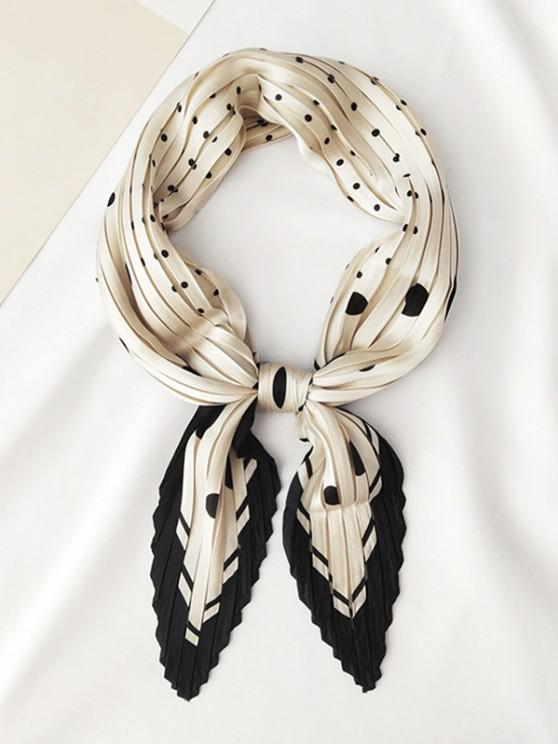 online Dots Printed Satin Pleated Rhombic Scarf - CRYSTAL CREAM