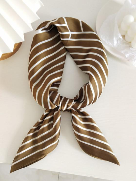 Striped Printed Satin Square Scarf - بنى