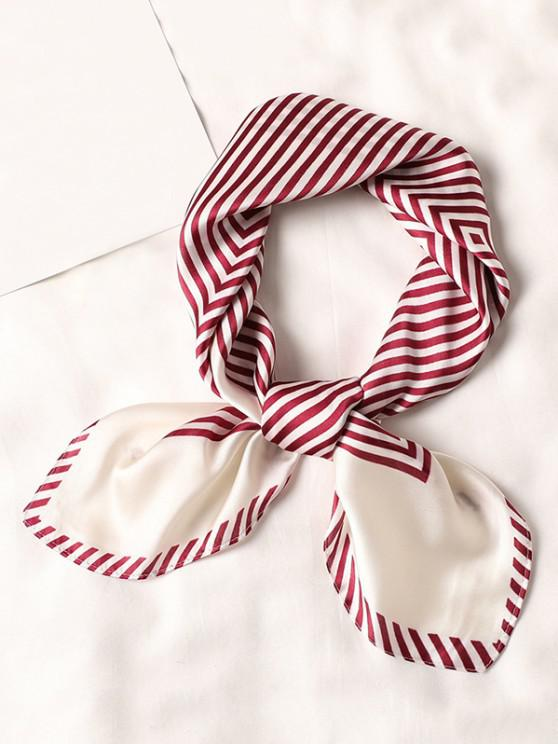Striped Small Square Scarf - أحمر