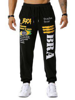 Brazilian Flag Graphic Print Drawstring Sports Pants - Black 2xl