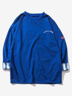 Striped Rolled Sleeve Drop Shoulder Sweatshirt - Cobalt Blue Xl