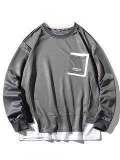 Sweat-shirt à Fente Latérale à Goutte Epaule Avec Poche - Cendre Gris 4xl