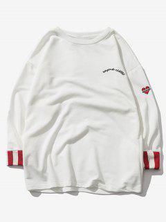 Sweat-shirt Rayé à Goutte Epaule à Manches Roulées - Blanc 2xl