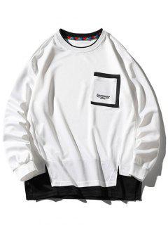 Drop Shoulder Pocket Side Slit Sweatshirt - White Xl