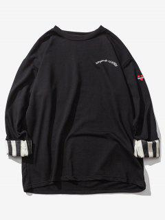 Striped Rolled Sleeve Drop Shoulder Sweatshirt - Black L