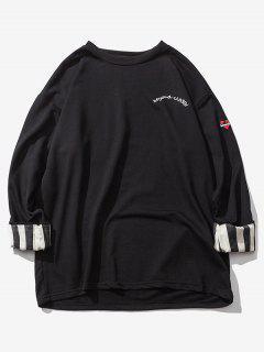 Streifen Gerollte Ärmel Hängender Schulter Sweatshirt - Schwarz L