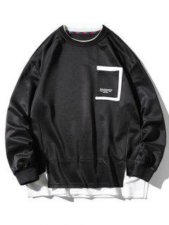 Sweat-shirt à Fente Latérale à Goutte Epaule Avec Poche - Noir 3xl